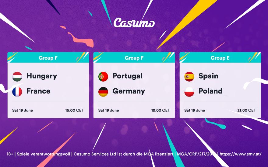 Wet ttipps für EM 2020: Samstag, 19.06.: Spanien - Portugal & mehr